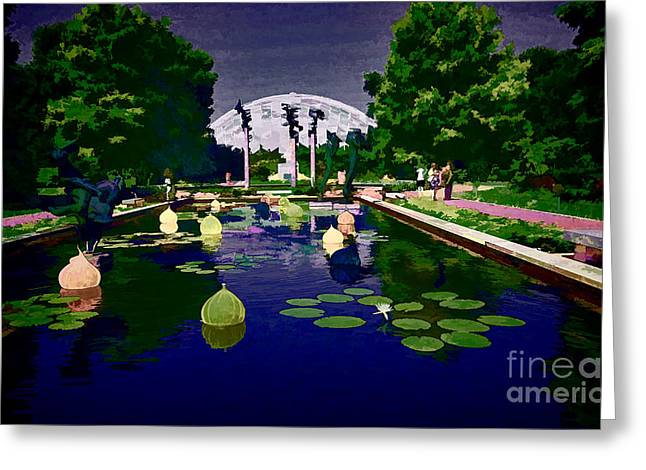 Blue Green Water Greeting Cards - Chilhuly Twilight at Missouri Botanical Gardens Greeting Card by Luther   Fine Art