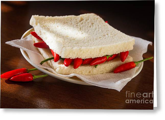 Sliced Bread Greeting Cards - Chili pepper Sandwich Greeting Card by Carlos Caetano