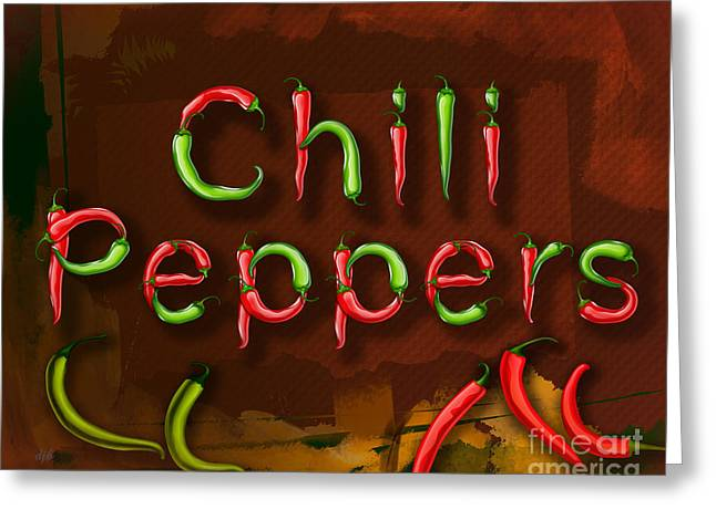 Heat Mixed Media Greeting Cards - Chili Peppers Greeting Card by Bedros Awak