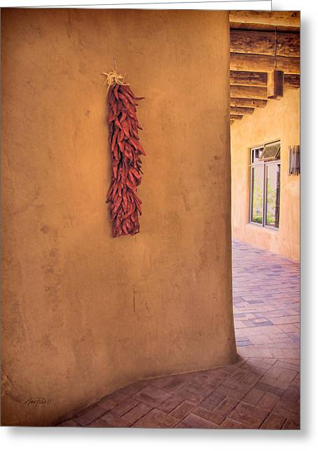 Adobe Digital Greeting Cards - Chili Peppers on Adobe Wall Greeting Card by Ann Powell