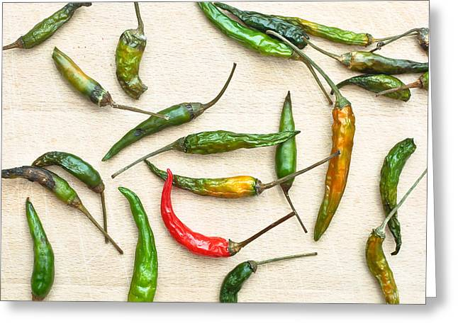 Chili Peppers Greeting Card by Tom Gowanlock