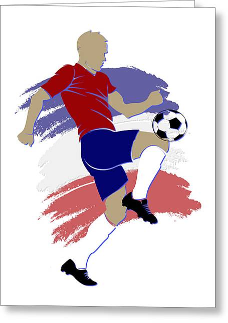 Soccer Goal Greeting Cards - Chili Soccer Player Greeting Card by Joe Hamilton