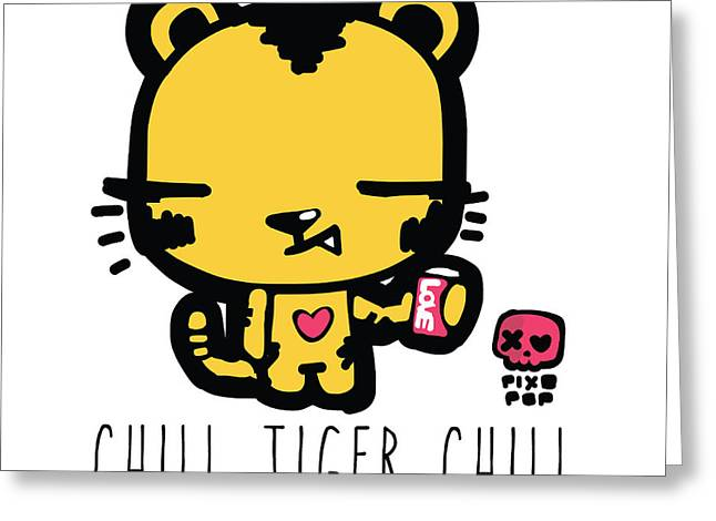 Soda Can Greeting Cards - Chill tiger chill Greeting Card by Pixopop Pixopop
