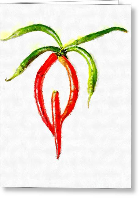 Chilli Palm Painting Greeting Card by Magomed Magomedagaev