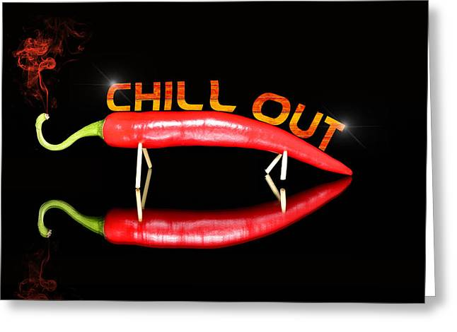 Recently Sold -  - Healthy Greeting Cards - Chilli pepper and text chill out Greeting Card by Toppart Sweden