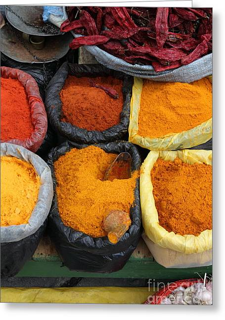 Colours Greeting Cards - Chilli powders 3 Greeting Card by James Brunker