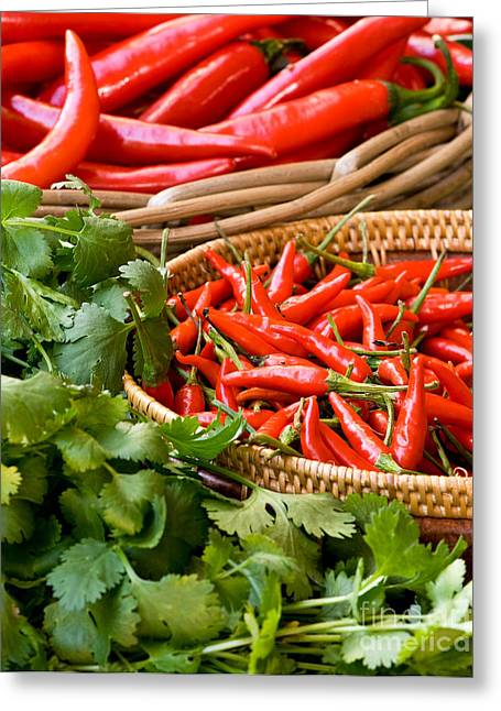 Chilies Greeting Cards - Chillies 04 Greeting Card by Rick Piper Photography