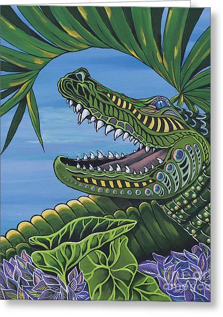 Florida Gators Paintings Greeting Cards - Chillin Greeting Card by Barbara Miller
