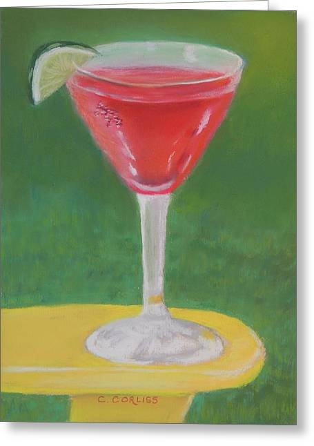 Raspberry Pastels Greeting Cards - Cosmo Friday Greeting Card by Carol Corliss
