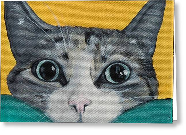 Photos Of Cats Paintings Greeting Cards - Chillin Like A Villian Greeting Card by Lauren Hammack