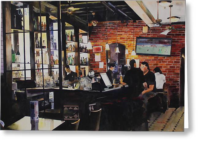 Menu Greeting Cards - Chilling Out at Boat Quay Greeting Card by Kwan Yuen Tam