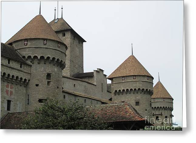 Chillon Greeting Cards - Chillon Castle Greeting Card by Lynellen Nielsen