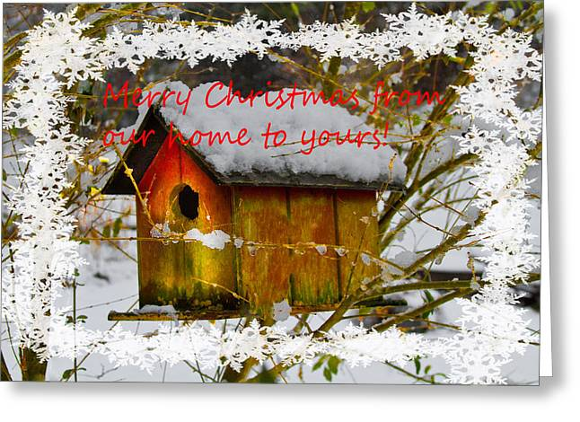 Nc Houses Greeting Cards - Chilly Birdhouse Holiday Card Greeting Card by Debra and Dave Vanderlaan