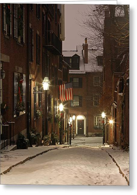 Brownstone Greeting Cards - Chilly Boston Greeting Card by Juergen Roth