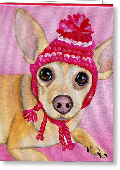 Custom Commissioned Pet Portrait From Photos Greeting Cards - Chilly Chihuahua Greeting Card by Lauren Hammack