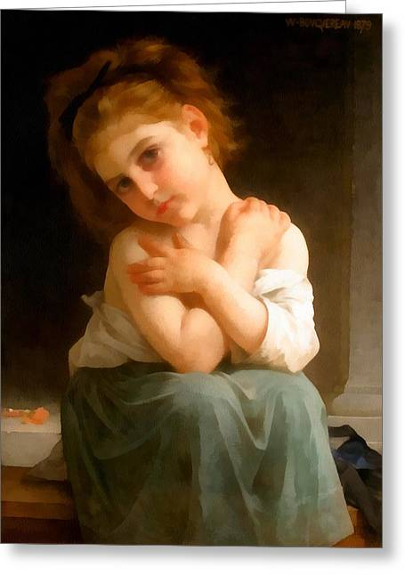 Off-the-shoulder Greeting Cards - Chilly Girl Greeting Card by William Bouguereau