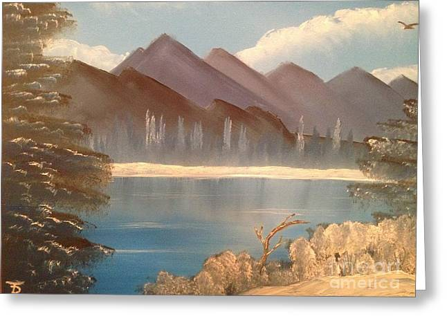 Bob Ross Paintings Greeting Cards - Chilly Mountain Lake Greeting Card by Tim Blankenship