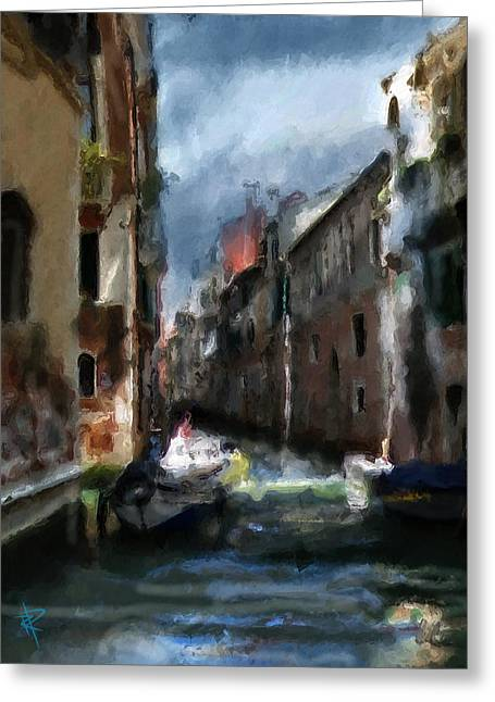 Europe Mixed Media Greeting Cards - Chilly Night in Venice Greeting Card by Russell Pierce