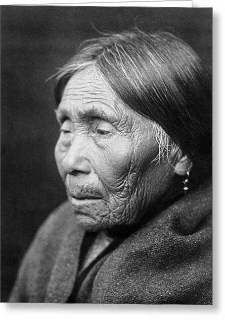 1913 Greeting Cards - Chimakum Indian woman circa 1913 Greeting Card by Aged Pixel