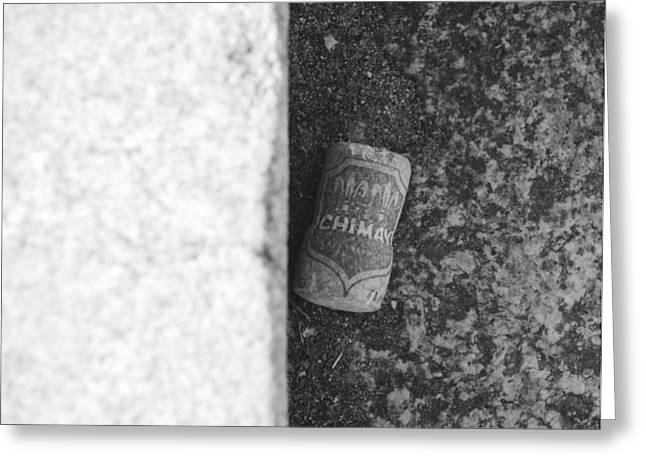 Ying Greeting Cards - CHIMAY WINE CORK in BLACK AND WHITE Greeting Card by Rob Hans