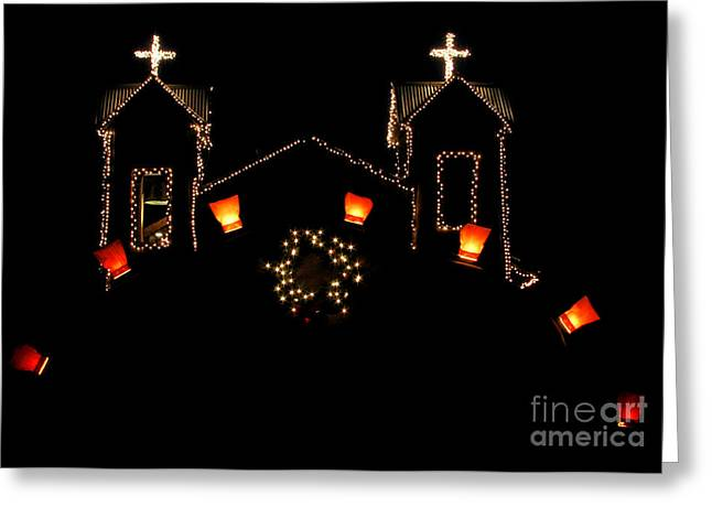 Candle Lit Greeting Cards - Chimayo Christmas Greeting Card by Roselynne Broussard