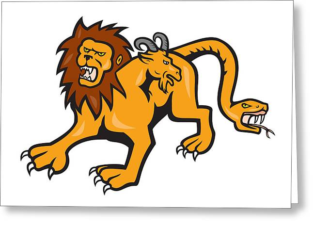 Cartoon Lion Greeting Cards - Chimera Attacking Front Cartoon Greeting Card by Aloysius Patrimonio