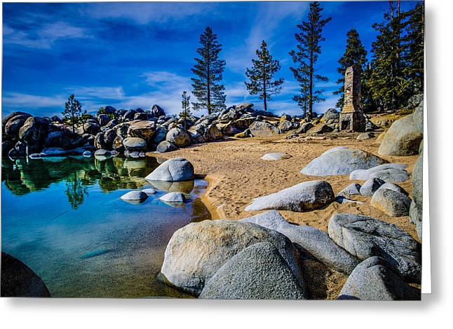 Chimney Greeting Cards - Chimney Beach Lake Tahoe Greeting Card by Scott McGuire