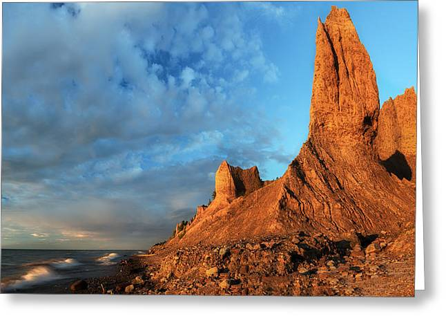 Colorful Cloud Formations Greeting Cards - Chimney Bluffs 2 Greeting Card by Mark Papke