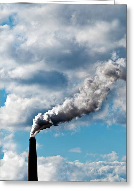 Co2 Greeting Cards - Chimney exhaust waste amount of CO2 into the atmosphere Greeting Card by Ulrich Schade