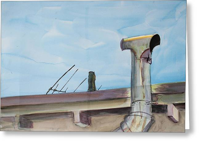 Antena Greeting Cards - Chimney Pipe and Berkeley Sky Greeting Card by Asha Carolyn Young