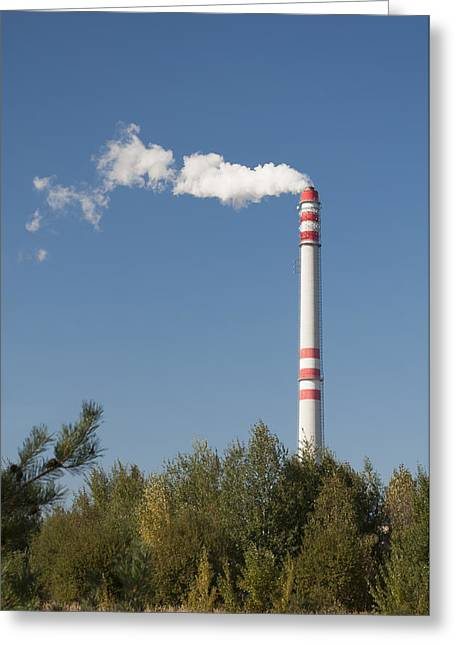 Carbon Dioxide Greeting Cards - Chimney pollution. Greeting Card by Fernando Barozza