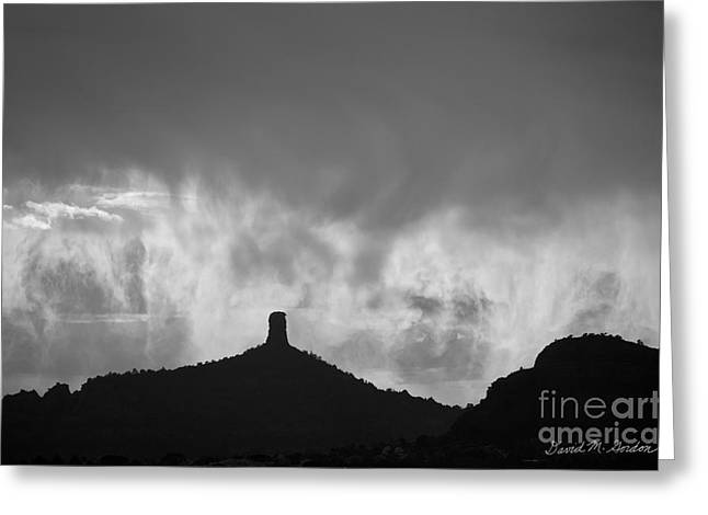 Chimney Rock Greeting Cards - Chimney Rock and Clouds Greeting Card by David Gordon