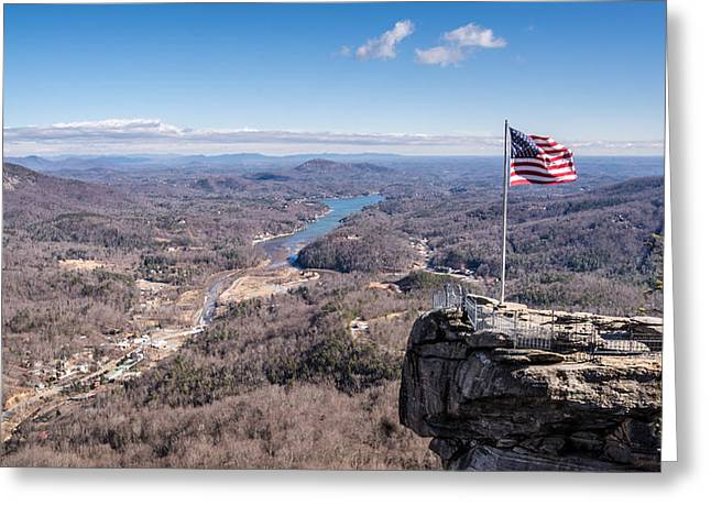 Chimney Rock North Carolina Greeting Cards - Chimney Rock and Lake Lure Greeting Card by Randy Scherkenbach