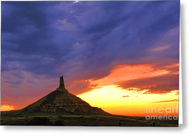 Geological Greeting Cards - Chimney Rock Nebraska Greeting Card by Olivier Le Queinec