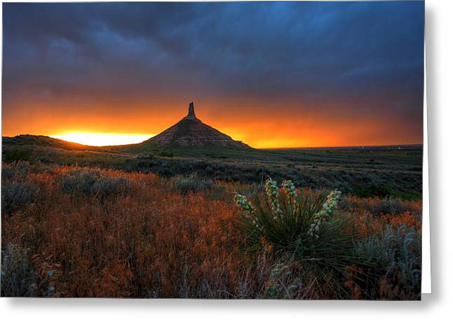 Chimney Rock Greeting Cards - Chimney Rock Sunset Greeting Card by Chris  Allington