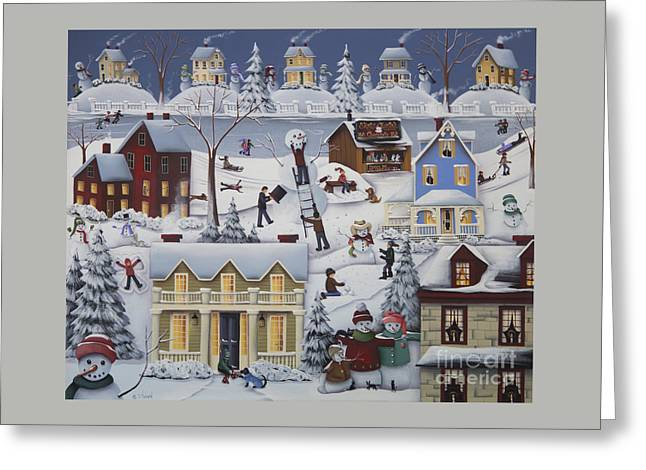 American Primitive Art Greeting Cards - Chimney Smoke and Cheery Snow Folk Greeting Card by Catherine Holman