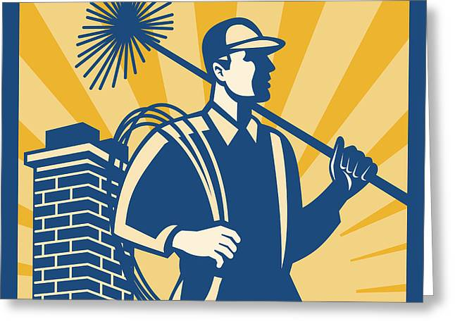 Chimney Sweeper Cleaner Worker Retro Greeting Card by Aloysius Patrimonio