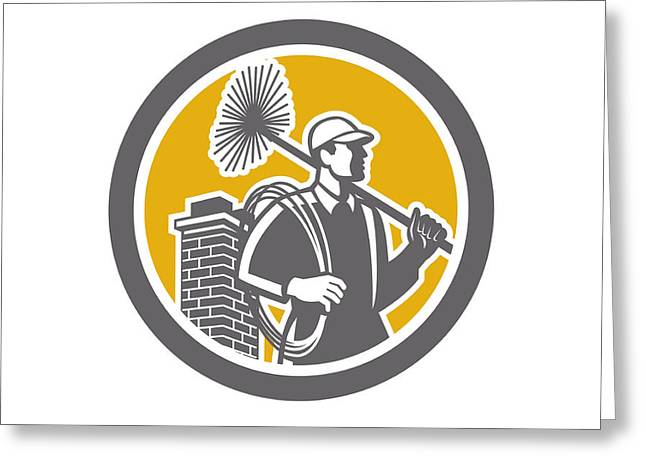 Chimney Sweeper Worker Retro  Greeting Card by Aloysius Patrimonio