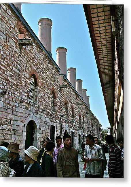 Chimneys In Topkapi Palace Kitchen Which Fed 4000 In First Century-turkey Greeting Card by Ruth Hager