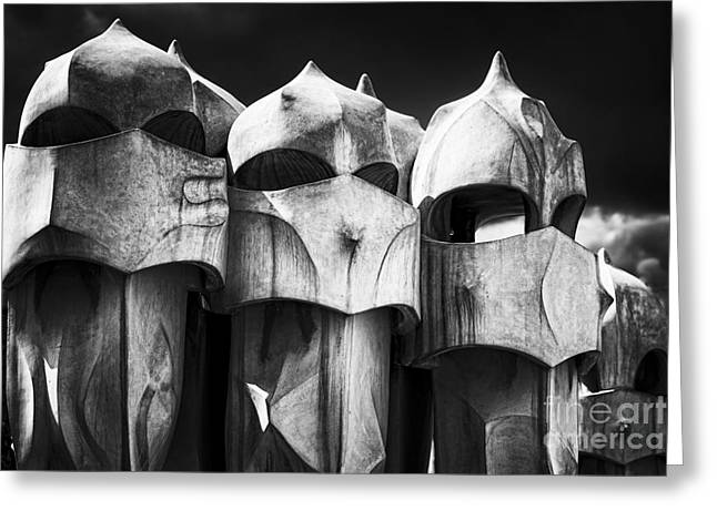 Union Terrace Greeting Cards - Chimneys of Gaudi Greeting Card by George Oze