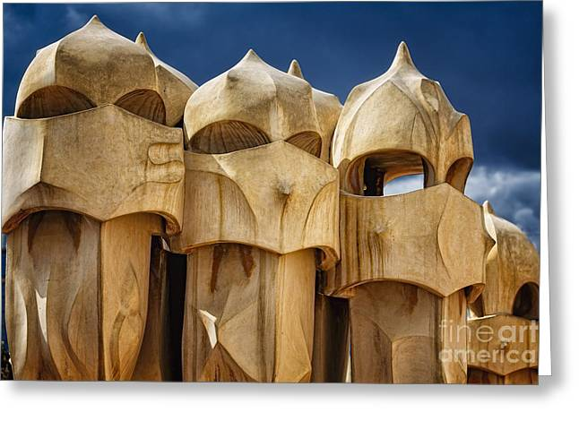 Union Terrace Greeting Cards - Chimneys of La Pedrera Greeting Card by George Oze