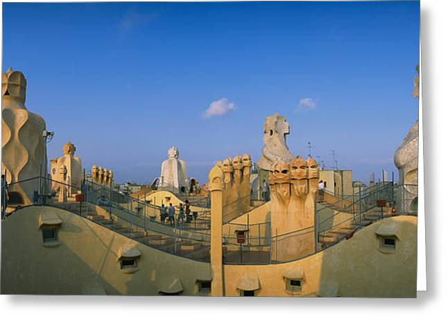 Stepping Stones Greeting Cards - Chimneys On The Roof Of A Building Greeting Card by Panoramic Images
