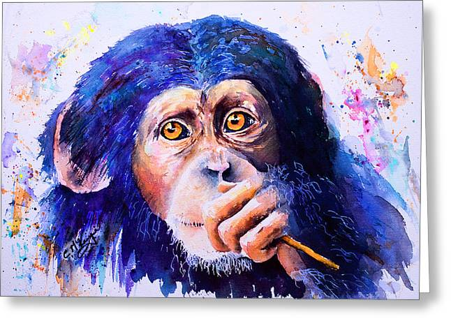 Chimpanzee Paintings Greeting Cards - Chimongo Greeting Card by Carrie McKenzie