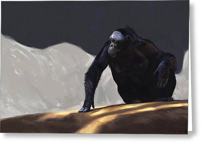 Monkeys Greeting Cards - Chimp Contemplation Greeting Card by Aaron Blaise