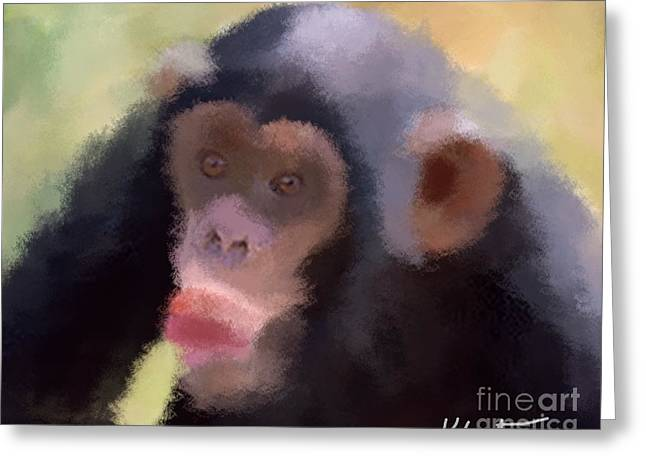 Bananas.ape Greeting Cards - Chimp with the nana Greeting Card by Karen Larter