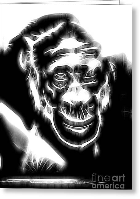 Congo Decor Greeting Cards - Chimpanzee Abstract Greeting Card by Tom Gari Gallery-Three-Photography