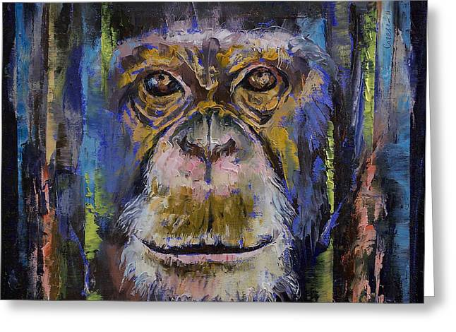 Chimpanzee Greeting Cards - Chimpanzee Greeting Card by Michael Creese