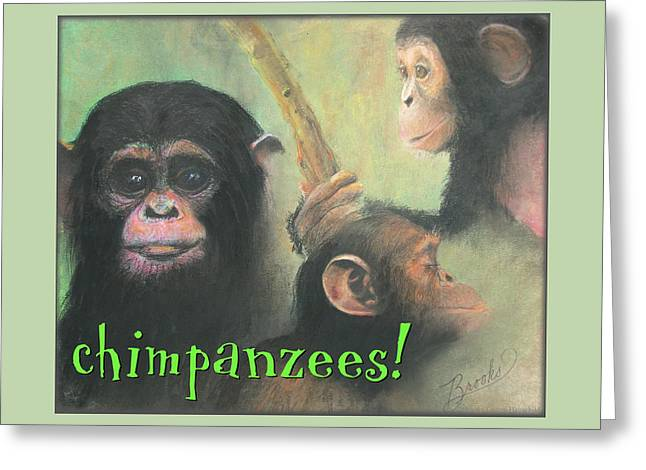 Brook Pastels Greeting Cards - Chimpanzees Greeting Card by Brooks Garten Hauschild