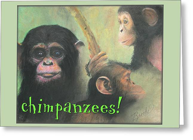 Kids Room Pastels Greeting Cards - Chimpanzees Greeting Card by Brooks Garten Hauschild