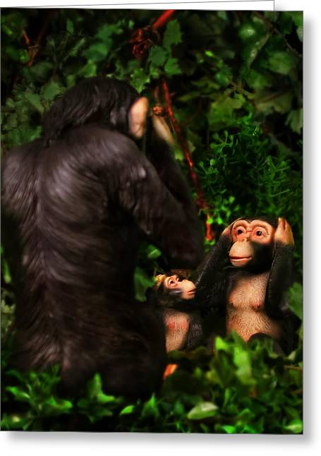 Anthropomorphic Greeting Cards - Chimps Greeting Card by Diane Bradley